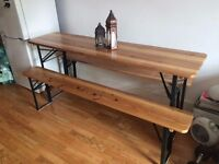 Wooden folding table and benches for sale - £90.00