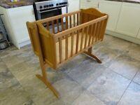 Solid wood sturdy swinging/static crib. VGC. £30 ovno