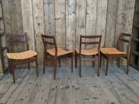 Very Danish style reupholstered dining chairs x4 solid afromosia teak mid century modern gplanera