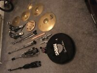Cymbals, stands and double kick bundle