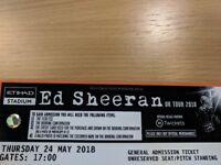Ed Sheeran 24th May Manchester Etihad Stadium 2 Standing Tickets