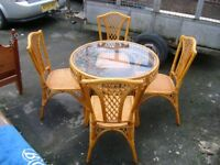 bamboo and glass table an chairs