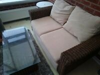 Conservatory couch and table.