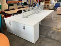 4 x White Bench Desk with Dividers, 2 Cupboards & 4 Monitor Arms
