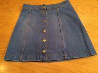 Topshop button down denim mini skirt