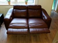 Brown leather electric / power reclining 2 seater sofa in perfect condition - free delivery !!!