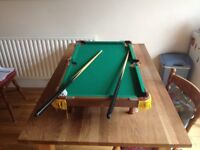 Table-top billiards, 2 cues, complete set of balls. Excellent condition.