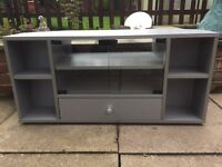 Grey TV Stand with glass doors