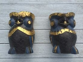 Wooden hand painted owl book ends
