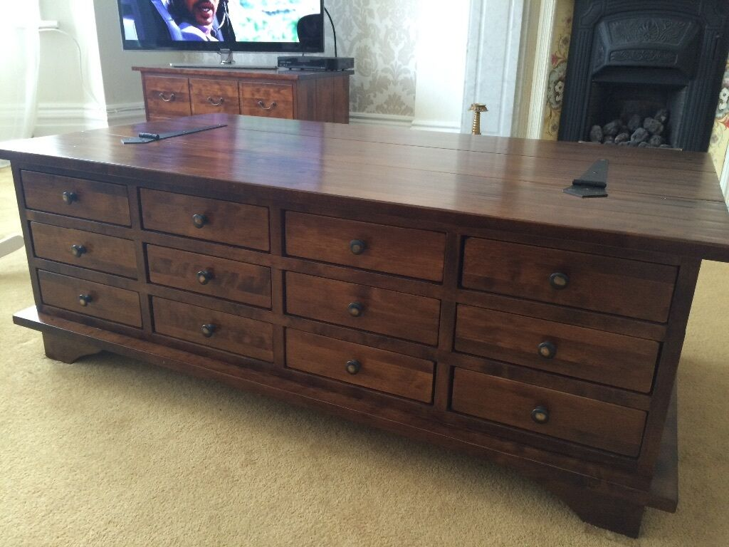 Laura ashley garrat chestnut 12 drawer coffee table in for Coffee tables laura ashley