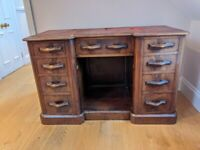 Antique Wooden Desk with Leather Top