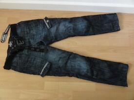 New Airwalk Belted Cargo Jeans Straight Fit Belt Denim Mens Gents