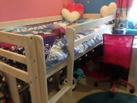 Childs mid sleeper bed with desk for sale.