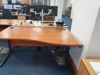 4 Office single wave desks/tables/computer desks in fir wood finish £69 each