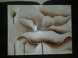 Flower Brown and white Deep canvas 90x70cm