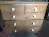 Solid very old two over three chest of drawers