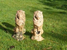Vintage Pair of Regal Lions Garden Statues Lion Garden Ornaments