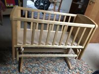Mothercare deluxe gliding crib with mattress in natural IMMACULATE