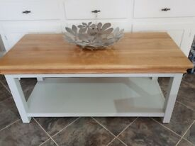 Pale grey coffee table with wood top from SCS 6mths ago