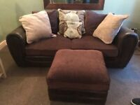 2 three seater sofas with matching footstool. Good condition