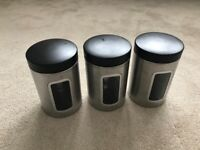 Stainless Steel Kitchen Window Canisters - set of 3