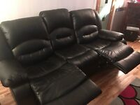 Black 3, 2, 1 Reclining Leather Sofa - Perfect Condition. 3 months old. Genuine Reason for Sale