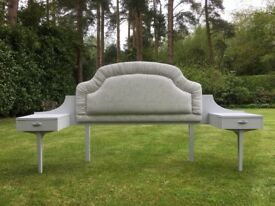Hand Painted & Reupholstered Vintage Retro Headboard withTwo Bedsides in Grey
