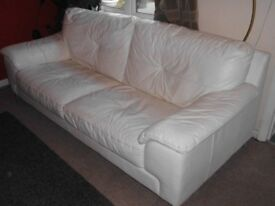 White leather sofa and armchair