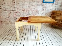 Extending Rustic Farmhouse Dining Table Set - Drop Leaf Painted in F&B Ergonomic, Space Saving