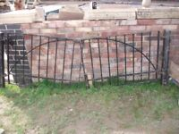 """double wrought iron gates, 94""""x 32"""" high, with metal posts- £65"""