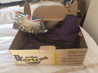 Purple smooth 8 eyelet Dr Martens, size 4