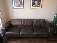 3 seater truffle brown leather sofa from MADE (Jarrod 3 seater)
