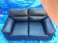 Two seat faux leather sofa-black