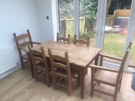 6 chair solid pine table