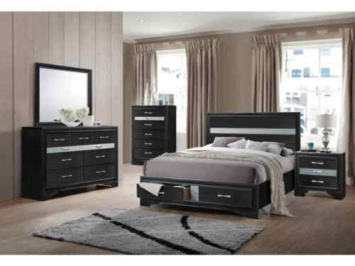 4pc Queen Size Contemporary Style Rich Black Finishstorage Bedroom Furniture Set