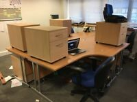 5 COMPLETE DESK SETS - DESK, PEDESTAL, CHAIR AND MEETING CHAIR