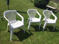 Free: 3 white plastic chairs