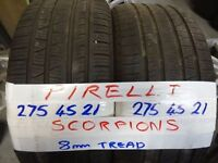 MATCHING PAIR 275 45 21 PIRELLI SCORPIONS 7MM TREAD £120 PAIR SUP & FITD (LOADS MORE AVAILOPN 7DYS