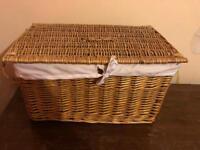 Large wicker lined storage basket