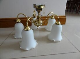 TWO FIVE BULB BRASS CILLING LIGHTS WITHOUT BULBS £12.00