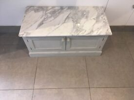 Grey side cupboard with solid marble top