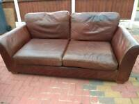 Brown Quality Italian Leather 2 Piece Suite 2 & 3 Seater Sofa Settee Couch