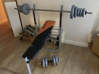 Benchpress and Dumbell weights set