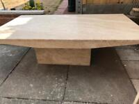 Natural stone coffee table with side table cube