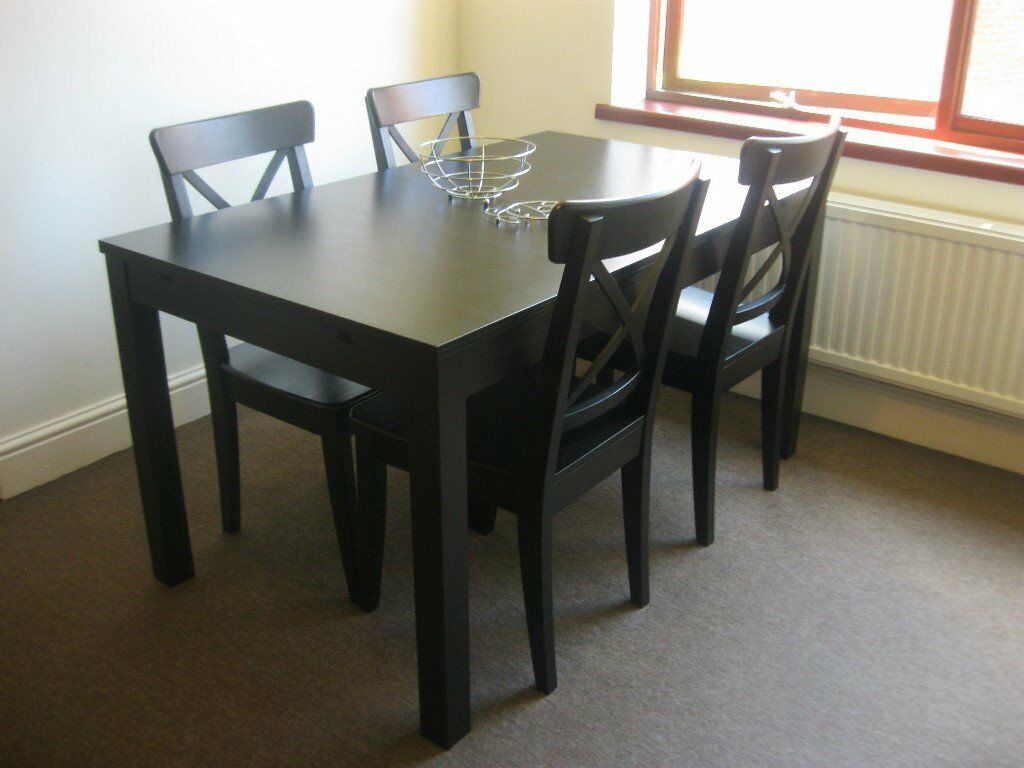 Ikea bjursta extendable table 4 ikea ingolf chairs in for Table ikea 4 99
