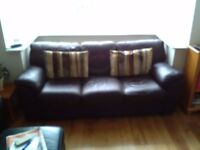 Large brown leather sofa for sale