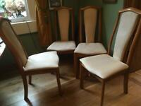 Four Skovby solid wood dining chairs
