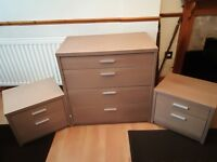 Immaculate Hygena Walnut Effect Bedroom Chest of Drawers and 2 Bedside Cabinets