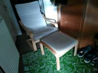 Armchair and footstool,