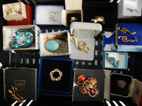 Small box of fashion/costume jewelry